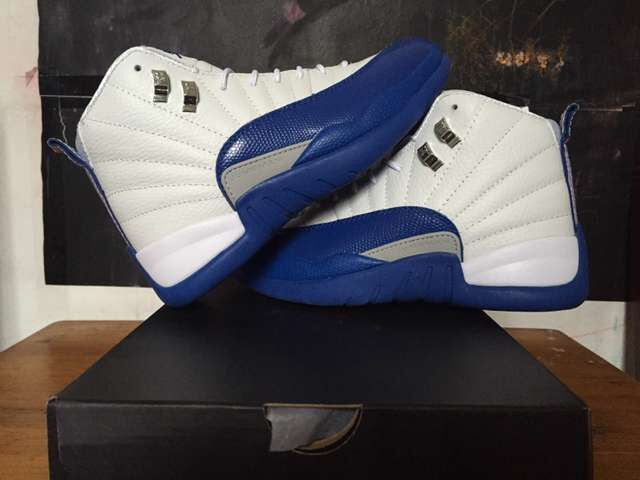 Nike Air Jordan 12 Retro White Frech Blue Shoes For Women