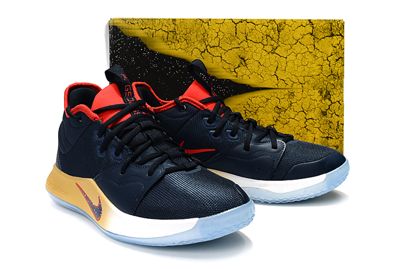 Nike Paul George III Navy Blue Yellow Red Shoes