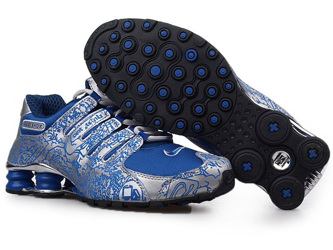 Mens Nike Shox Nz Mesh Up Shoes Blue Silver
