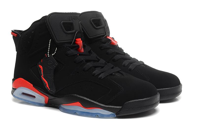 Women Jordan 6 Basketball Shoes Black Red