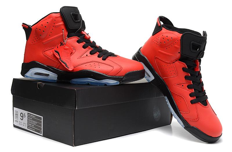 Women Jordan 6 Basketball Shoes Red Black