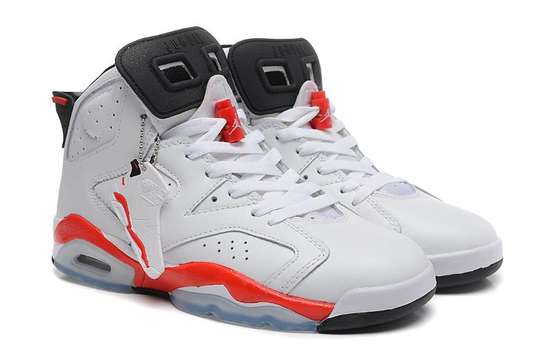 Women Jordan 6 Basketball Shoes White Red Shoes