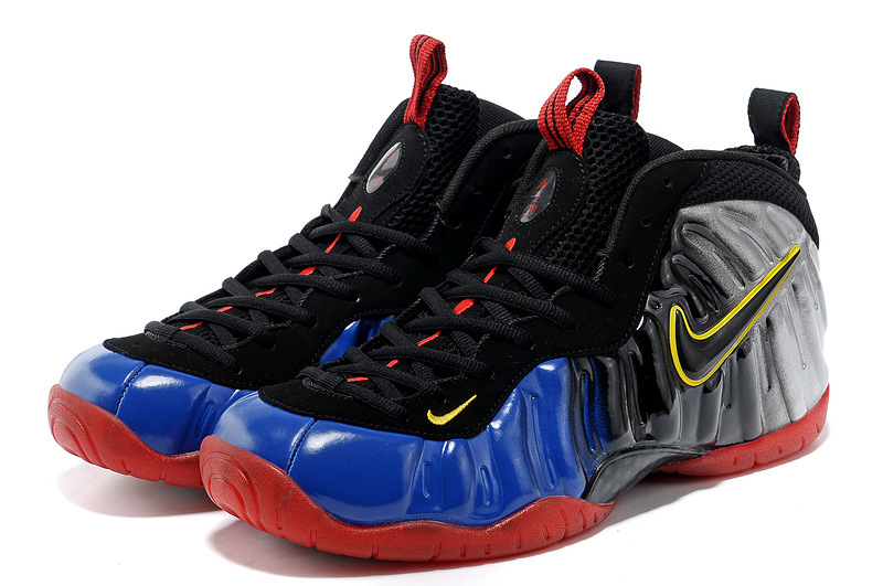 Air Foamposite One Shooting Stars Black Grey Blue Red Shoes