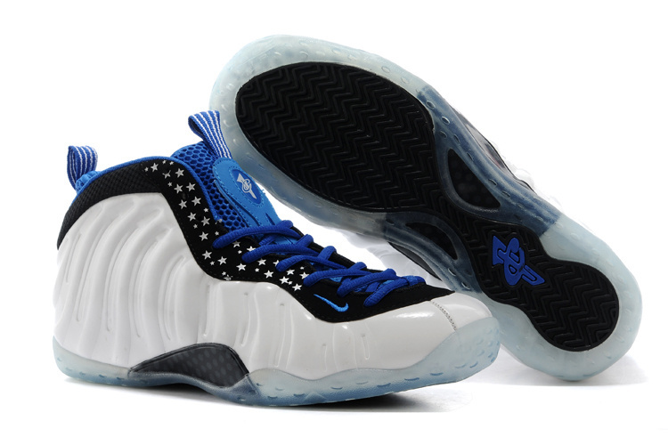 Air Foamposite One Shooting Stars White Blue Black Shoes