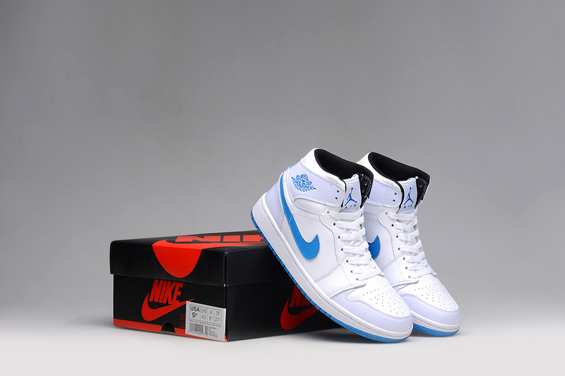 2015 Nike Jordan 1 White Blue Shoes