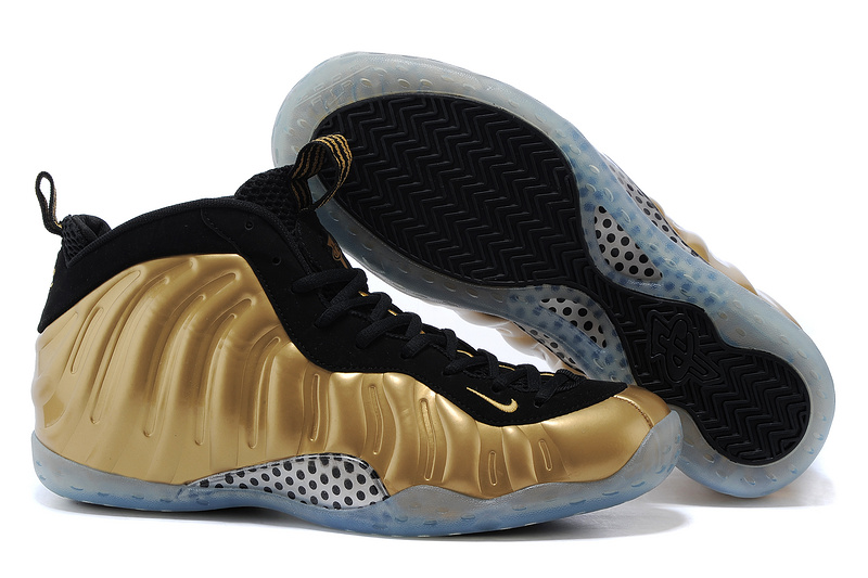 New Air Foamposite One Gold Black Shoes