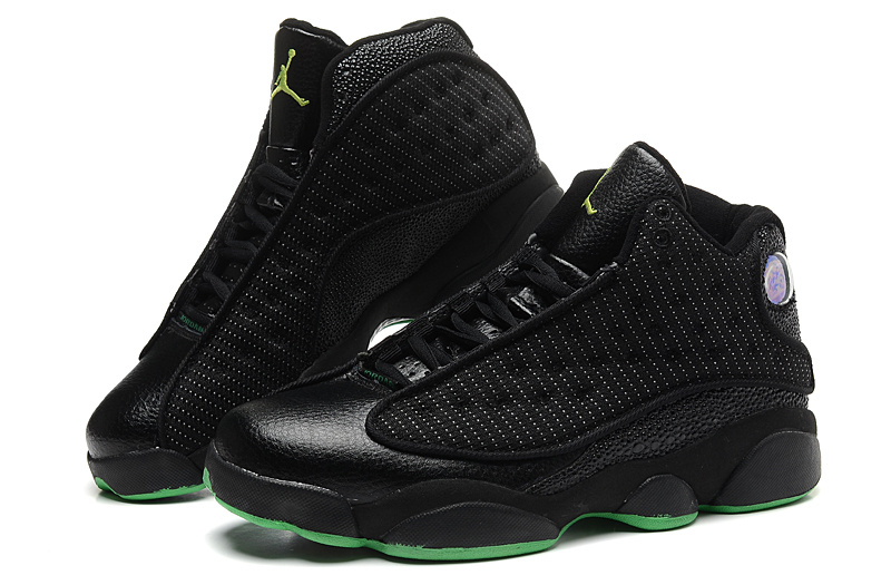 Nike 2015 Air Jordan 13 All Black Green Sole Mesh Vamp