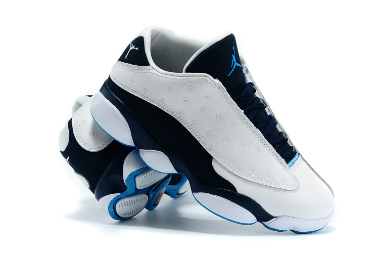 Nike 2015 Air Jordan 13 Low White Black Blue Shoes