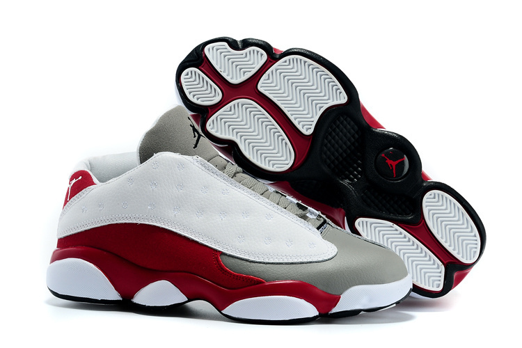 Nike 2015 Air Jordan 13 Low White Grey Wine Red Shoes