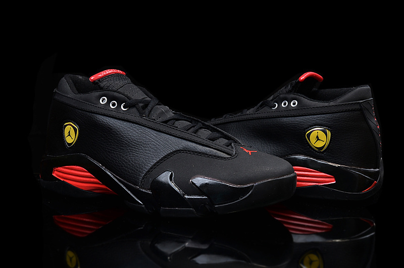 2015 Latest Nike Air Jordan 14 Low Black Red Yellow For Women