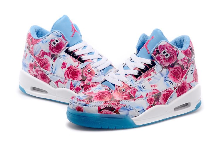2015 Latest Nike Air Jordan 3 Red Bbaby Blue White Shoes For Women