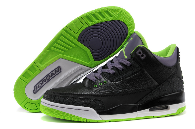 New Nike Air Jordan 3 Black Purple Green Shoes