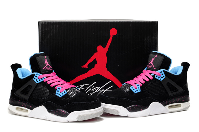 Nike Air Jordan 4 Retro Womens Basketball Shoes Black White Pink
