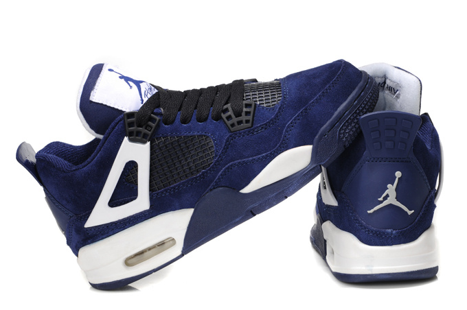 Nike Air Jordan 4 Retro Womens Basketball Shoes Dark Blue White