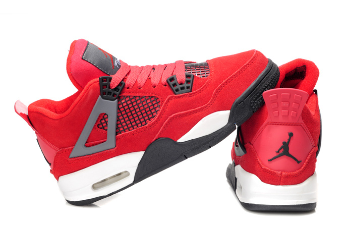 Nike Air Jordan 4 Retro Womens Basketball Shoes Red White