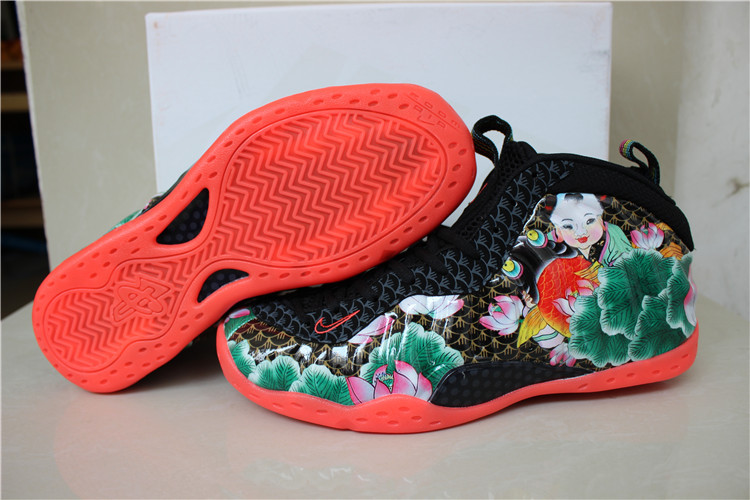 New Hot Nike Air Foamposite Penny Hardaway Flower Print Black Red Shoes