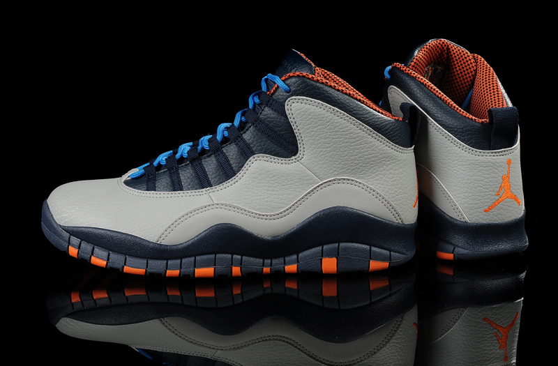 New Air Jordan 10 Grey Blue Orange Shoes