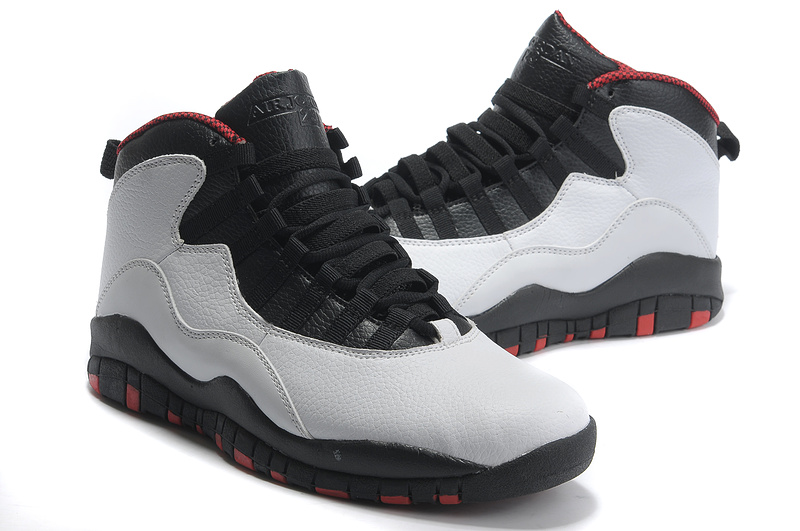 New Air Jordan 10 Retro Black Grey Red Shoes