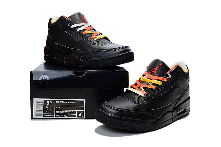 Nike 2015 Air Jordan 3 Retro Black Colorful Shoes