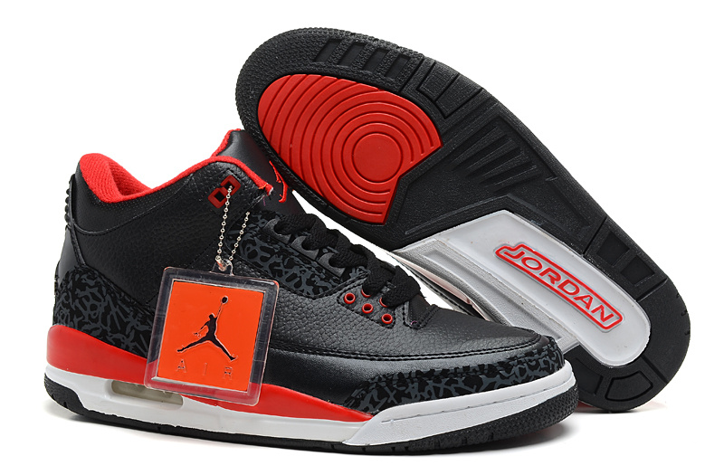New Nike Jordan 3 Retro Black Red White Shoes