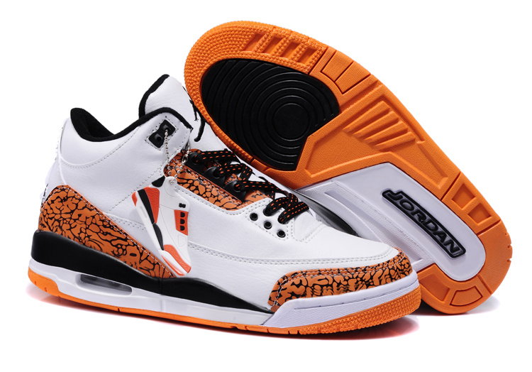 New Nike Jordan 3 Retro White Orange Black Shoes