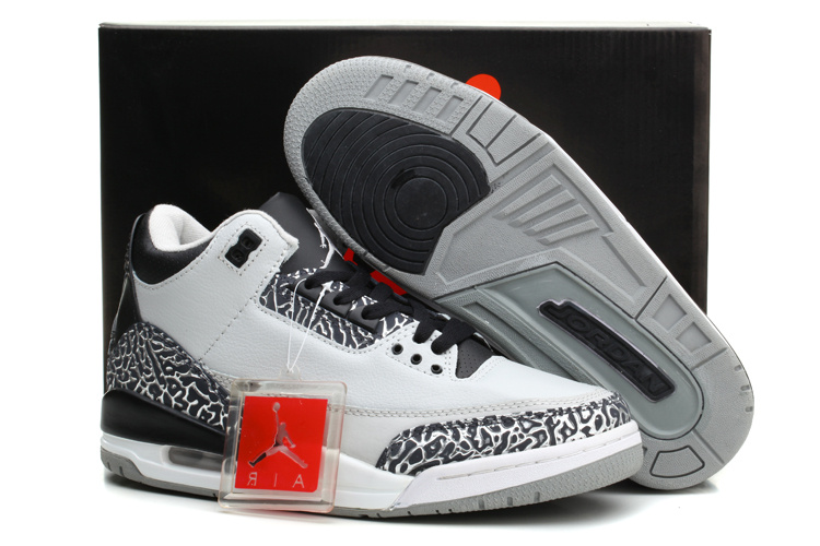 New Nike Jordan 3 Retro Wolf Grey Black Basketball Shoes