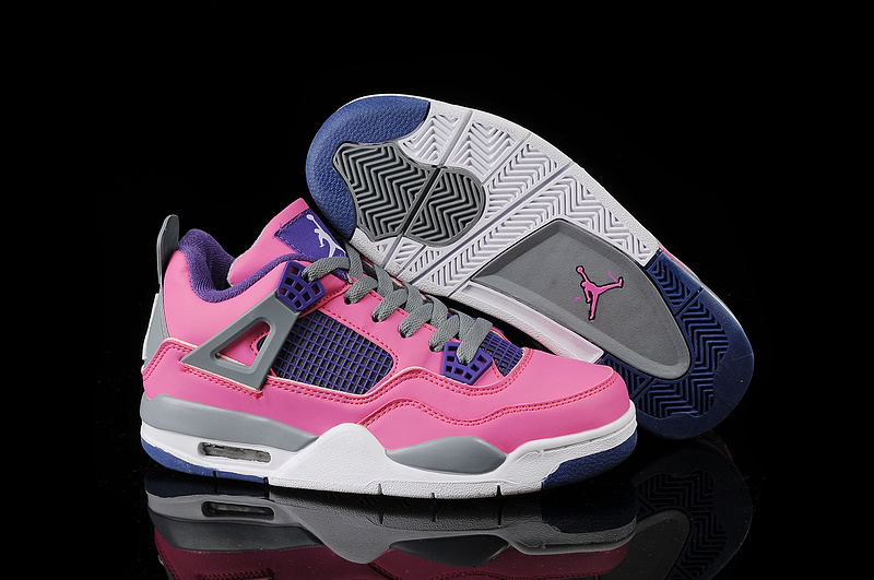 New Jordan 4 Retro Pink Blue Grey White Basketball Shoes For Women
