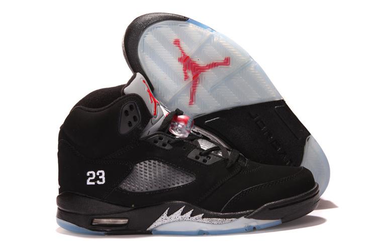 New Nike Air Jordan 5 Retro Black Silver Shoes