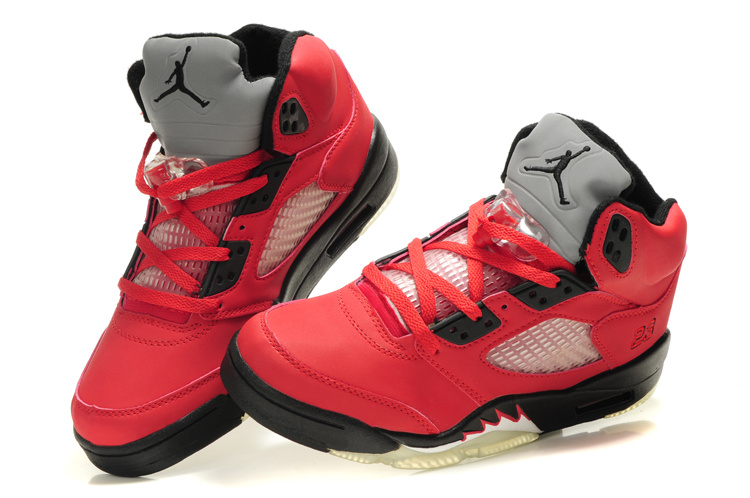 New Jordan 5 Retro Red Black White For Women