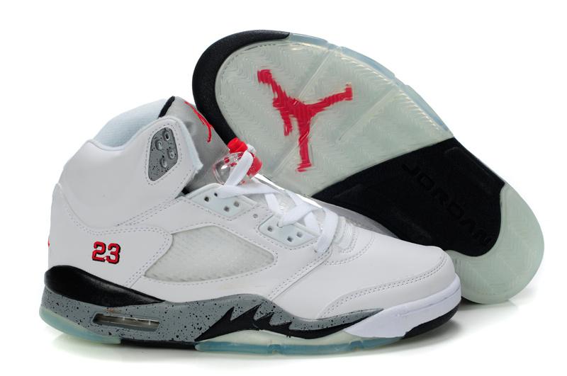 Nike Jordan 5 Retro White Black Grey For Women