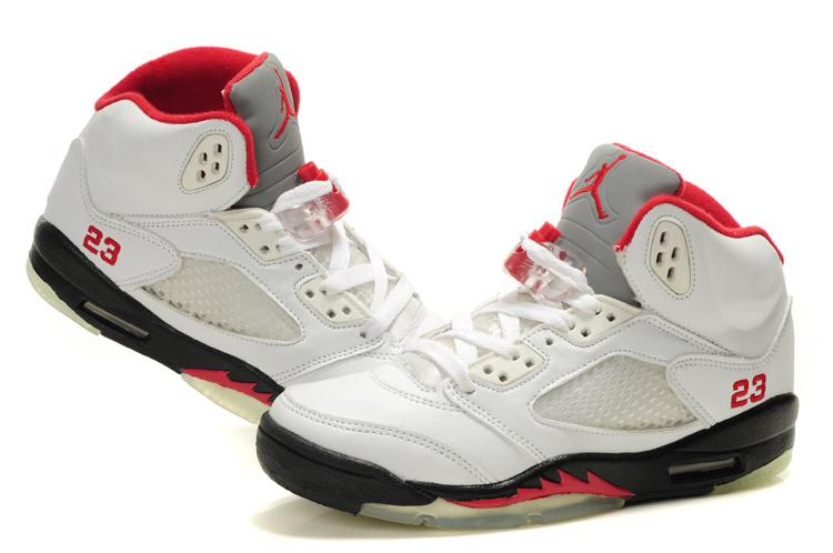 Nike Jordan 5 Retro White Black Red For Women