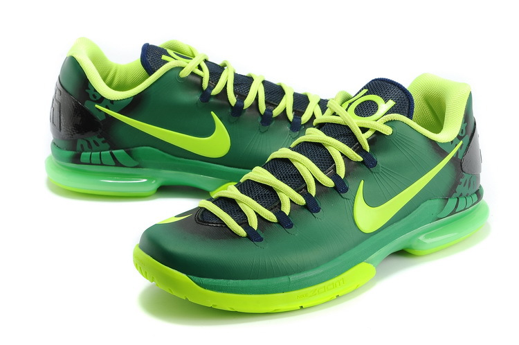 2014 Kevin Durant 5 Shoes Low Green Yellow Shoes