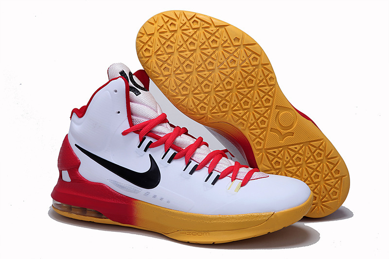2014 Kevin Durant 5 Shoes White Red Yellow Shoes