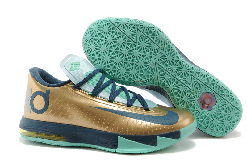 2014 Nike Kevin Durant 6 Gold Black Green Shoes