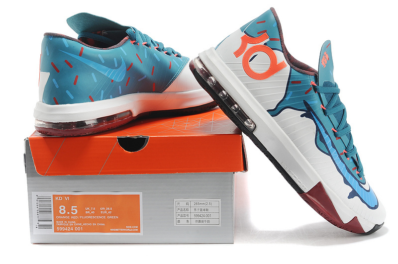 New Kevin Durant 6 White Blue Orange Shoes