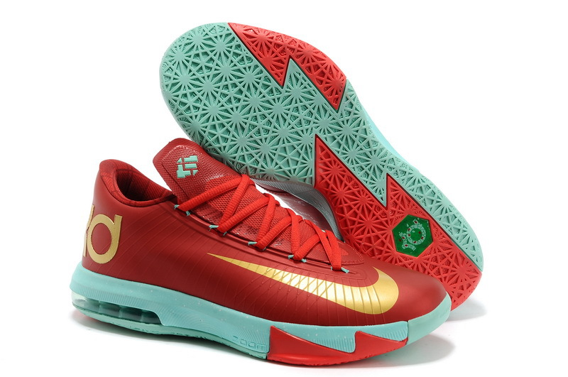 2014 Nike Kevin Durant 6 Dark Red Light Blue Gold