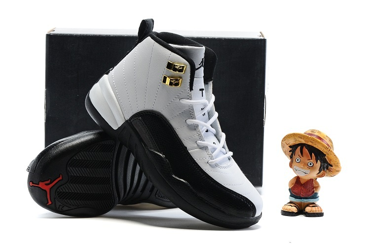 New Kids Air Jordan 12 Taxi White Black Gold Shoes