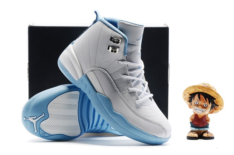New Kids Air Jordan 12 White Baby Blue Shoes