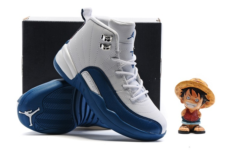 New Kids Air Jordan 12 White French Blue Shoes