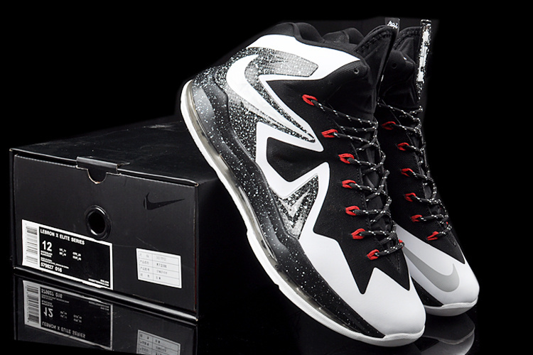2014 Nike Lebron James 10 Elite Black White Shoes
