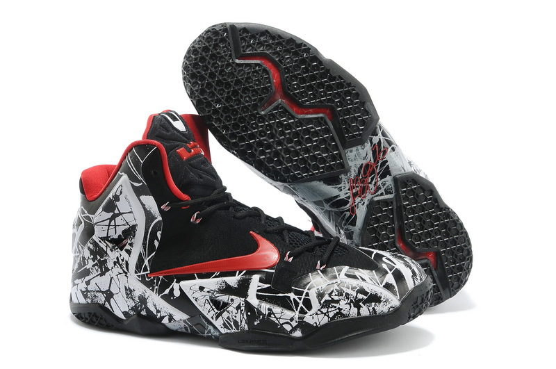 Discount Nike Lebron James 11 Shoes Black White Red