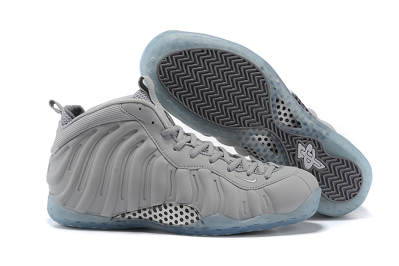 New Nike Air Foamposite One Wolf Grey Ice Blue Sole Shoes