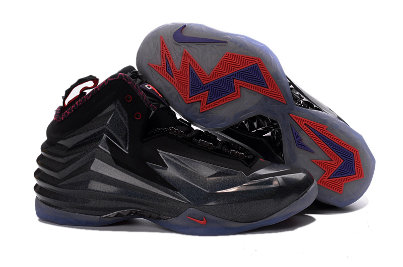 New Nike Chuck Posite Barkley All Black Red Shoes