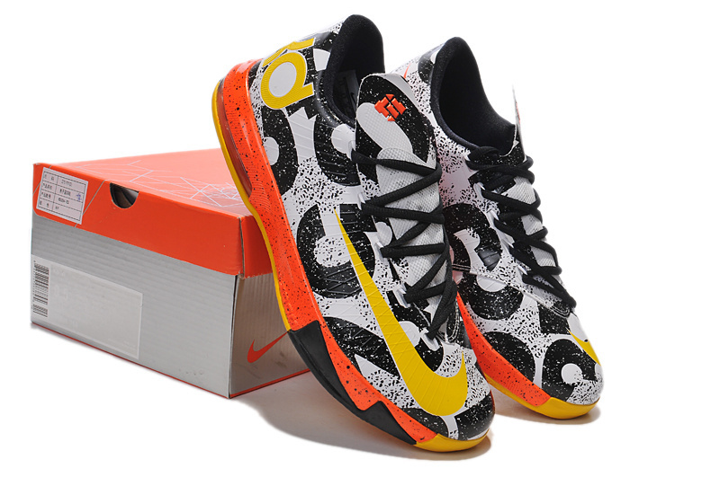 2014 Nike Kevin Durant 6 MVP Black White Yellow Orange Shoes