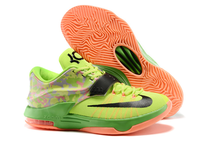 New Nike Kevin Durant 7 Fluorscent Green Black Orange Shoes