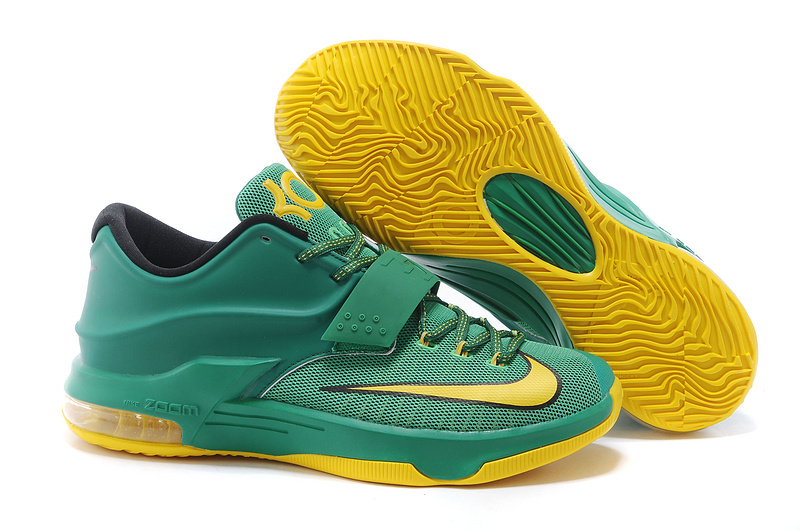 New Nike Kevin Durant 7 Green Yellow Gold Logo Shoes