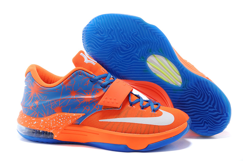 New Nike Kevin Durant 7 Orange Blue White Logo Shoes
