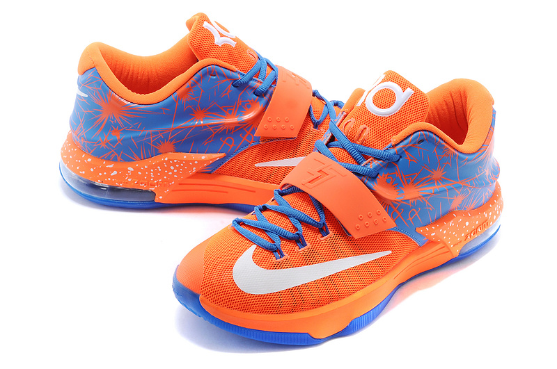 New Nike Kevin Durant 7 Orange Blue White Logo Shoes On ...