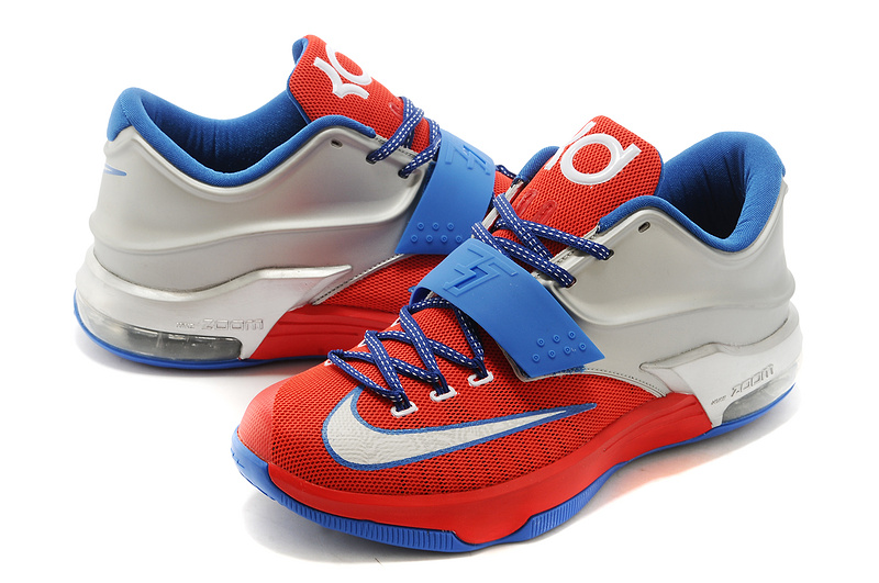 New Nike Kevin Durant 7 Red Blue White Logo Shoes