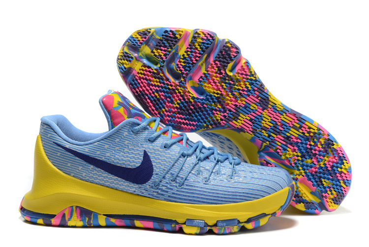 New Nike Kevin Durant 8 Blue Yellow Colorful Shoes